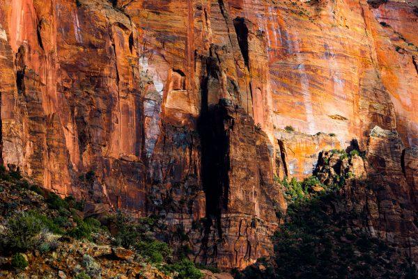 illuminated sandstone cliff in Zion