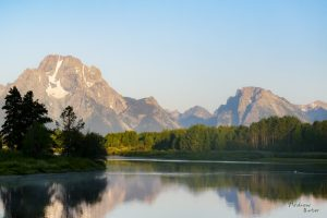 Grand Tetons from Oxbow Bend in the morning light